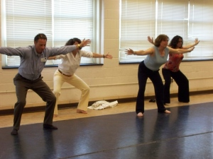 Members of the Leadership Class 2008 stretching for a dance class