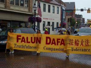 Falun Dafa Banner made an impact at the parade.