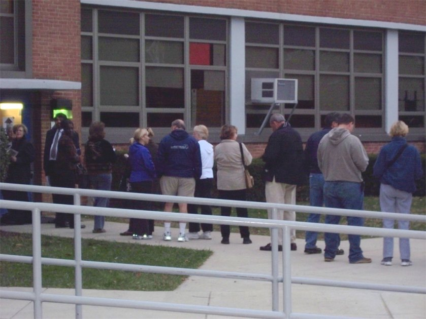 Prospective voters in Annapolis this morning at Bates Middle School.