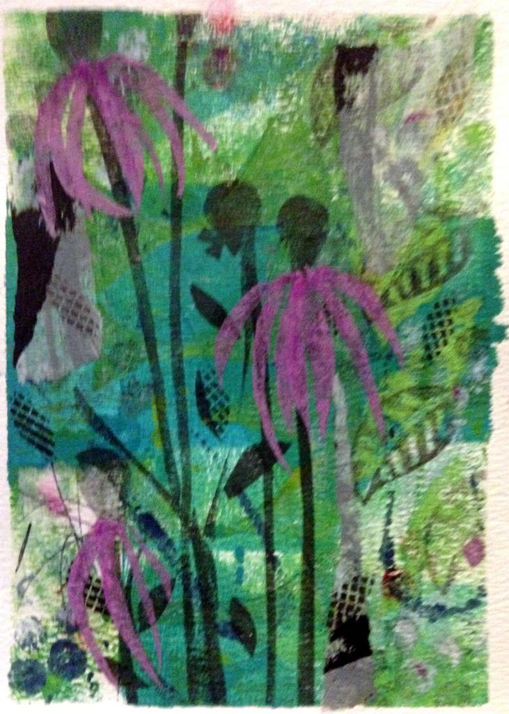 "Coneflower Summer Relief print, collage Size: 8""W x 10""H   By Beth A. Bynum"