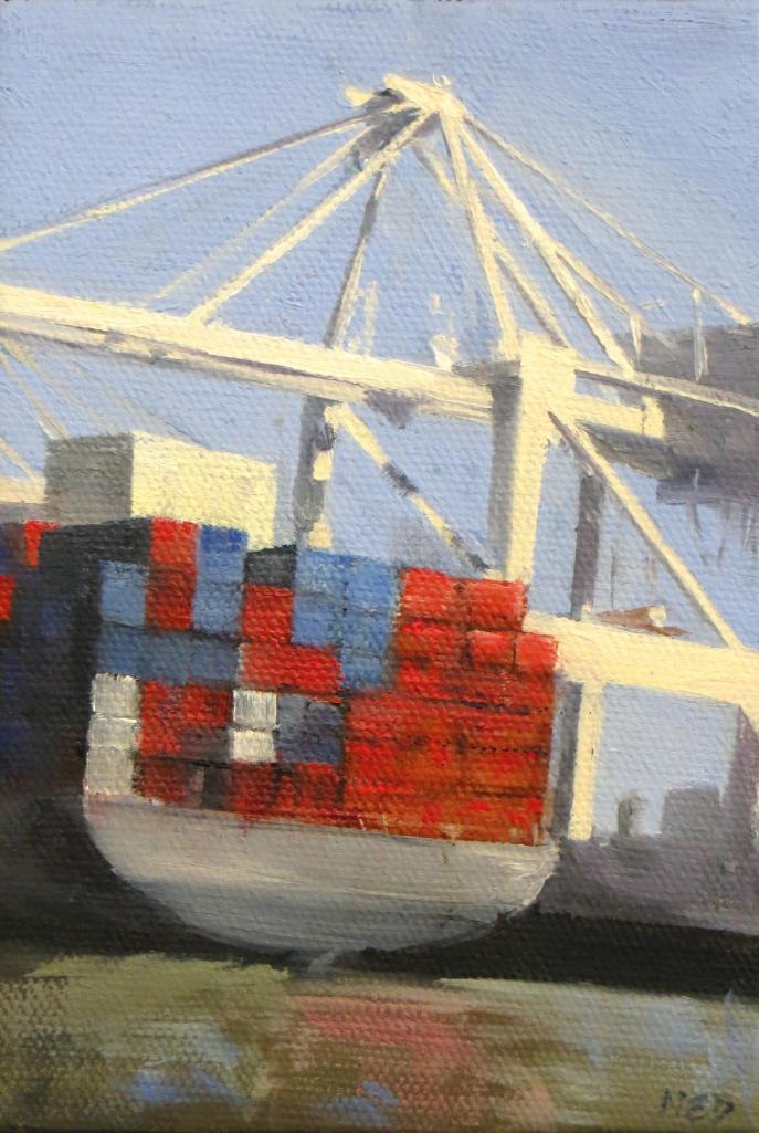 """The Big Move oil on canvas Size: 4""""W x 6""""H  The Big Move oil on canvas Size: 4""""W x 6""""H  By Ned Axthelm"""