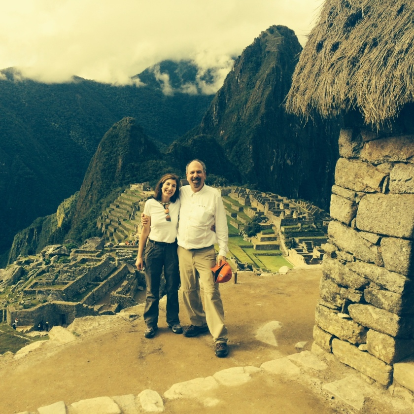 "Our first afternoon at Machu Picchu standing near the ""Guard House"""